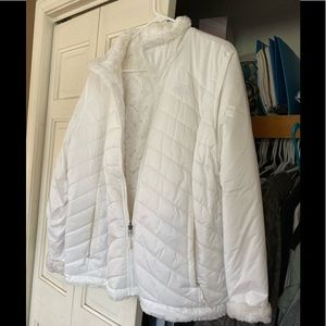 North face white reversible coat used size xl